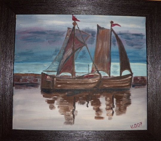 Rybářské loďky za úsvitu