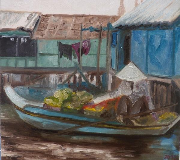Kambodžská prodavačka ovoce