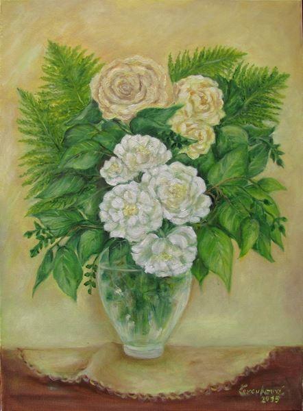 Růže s kapradím