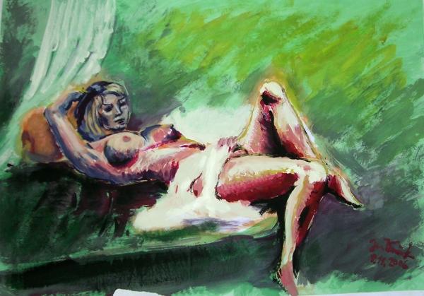 Dívčí akt na zeleném pozadí