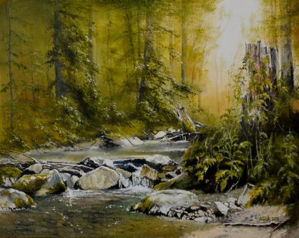 Lesná krajina s potokom