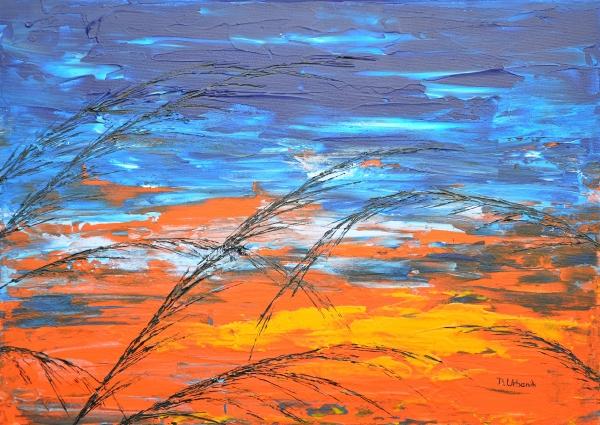Tráva v modrej farbe