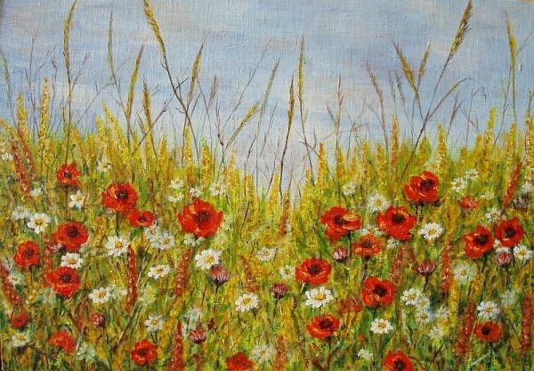 Letné kvety pri obilí..