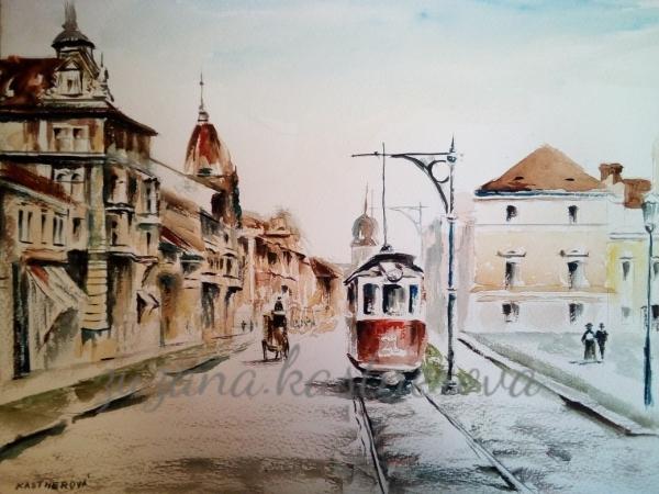 Ze staré Plzně akvarel
