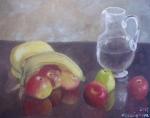 Zátiší se džbánem a ovocem