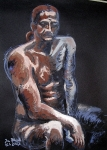 Mužský akt v hnědé a modré