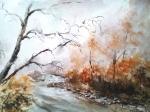 Lesní potůček akvarel