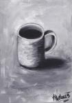 Černá káva v bílém hrnku