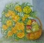 Růže s košíkem jablek
