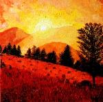 kopce v západu slunce
