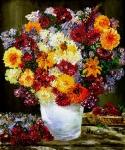 květiny v bílé váze - zátiší