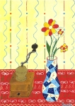 Mlýnek a váza s květinami