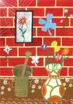 Hmoždíř a váza s květinami