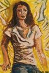 Portrét dívky na žlutém pozadí