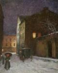 Zasněžená noční ulice s drožko