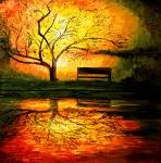 strom v západu slunce u vody